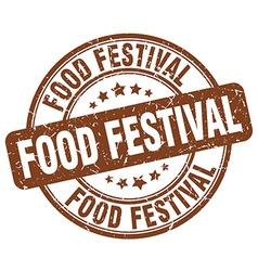 Food festival brown grunge round vintage rubber vector