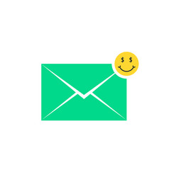 Green commercial offer letter icon with emoji vector