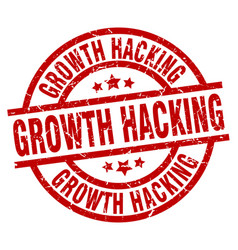 growth hacking round red grunge stamp vector image vector image