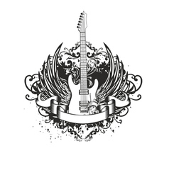 guitar with wings and patterns vector image vector image
