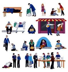 Homeless people icons set vector