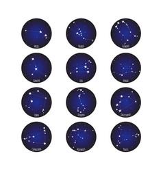 Horoscope star dot zodiac in circle cosmos vector