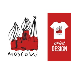 Kremlin hand drawn with text moscow for t-shirt on vector