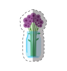 lilac flowers vase decoration vector image