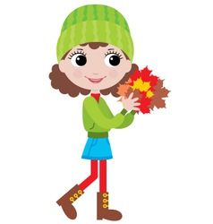Little girl with autumn leaves vector