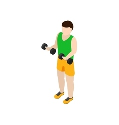 Man exercising with dumbbells icon isometric 3d vector