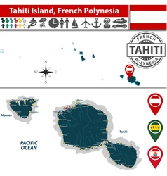Map of tahiti island vector