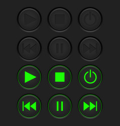 media buttons - inactive black buttons and active vector image vector image
