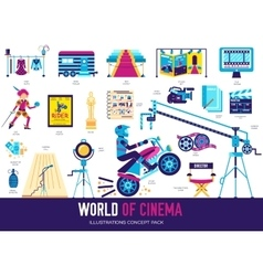 Premium quality cinema industry flat collection vector