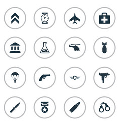 set of simple army icons vector image vector image