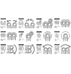 Touch gestures line icon set vector image