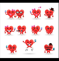 Valentines day couple heart emoji set vector