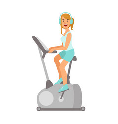 woman working out on exercise bike colorful vector image vector image