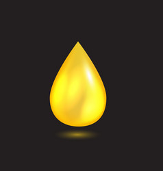 Yellow liquid oil falling drop vector
