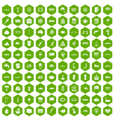 100 bridge icons hexagon green vector