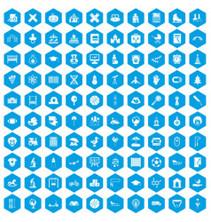 100 kids icons set blue vector