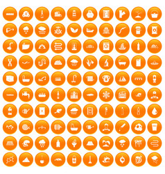 100 water supply icons set orange vector