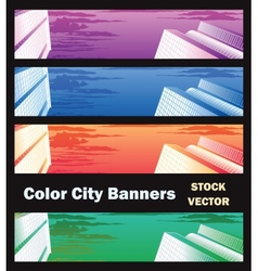 Banners on city theme vector image