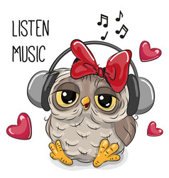 Cute cartoon owl girl with headphones vector