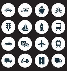 transport icons set collection of skooter way vector image