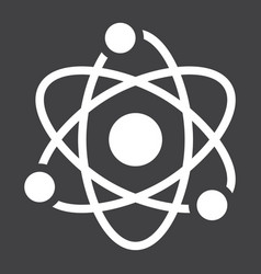 Atom solid icon education and physics vector