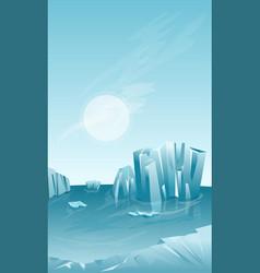 Winter landscape with iceberg vector