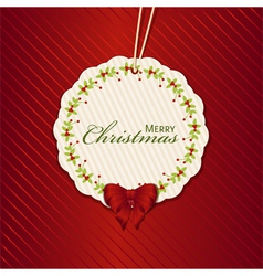 Christmas present label red vector
