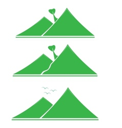 A set of emblems green mountains with tree vector