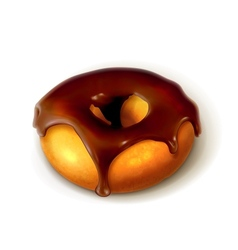 Ring donut in chocolate glaze vector