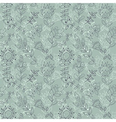 Seamless grey texture with flowers vector