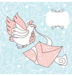 cute bird with a letter vector image