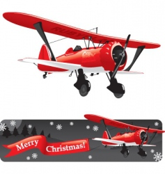 Biplane with christmas vector