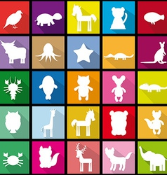 Set silhouettes of animals seamless pattern in vector