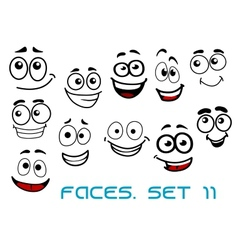 Funny happy faces cartoon characters vector image