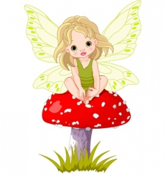 baby fairy on the mushroom vector image