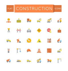 Flat construction icons vector