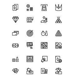Casino and gambling outline icons 2 vector