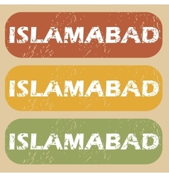 Vintage islamabad stamp set vector