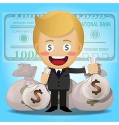 Happy man holding big money bags vector