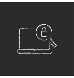 Laptop and magnifying glass icon drawn in chalk vector