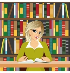 Friendly blonde student girl studying in library vector