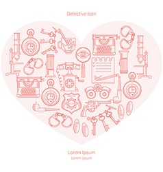 Detective icon in the shape of a heart vector