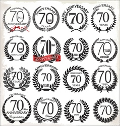 70 years anniversary laurel wreaths vector