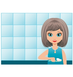 Girl brushes teeth in a bathroom vector