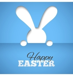 Happy easter card with hiding bunny and font on vector