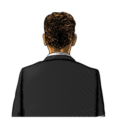 Man in suit from back or rear view vector image