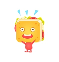 Sandwich character cheering vector