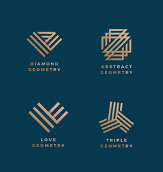abstract geometry minimal signs set golden vector image vector image