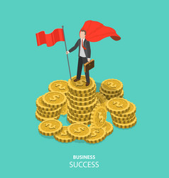 Business success flat isometric concept vector