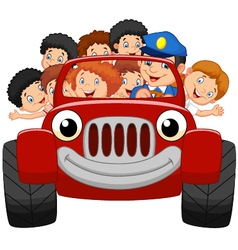Cartoon little kid happy with red car vector